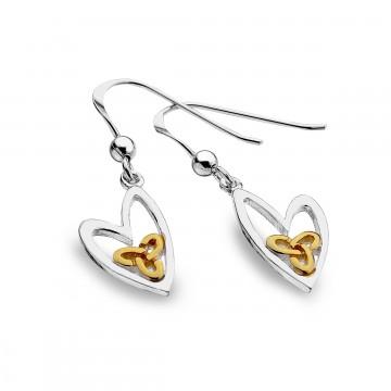 Celtic Trinity Knot & Heart Sterling Silver Earrings