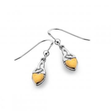 Celtic Heart & Brass & Trinity Knot Sterling Silver Earrings