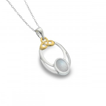 Celtic Knot & Moonstone Oval Sterling Silver Pendant Necklace