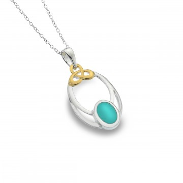 Celtic Knot & Turquoise Oval Sterling Silver Pendant Necklace