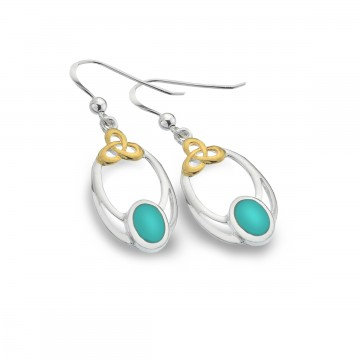Celtic Knot & Turquoise Oval Sterling Silver Earrings