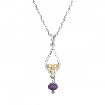 Celtic Knot & Amethyst Teardrop Sterling Silver Pendant Necklace