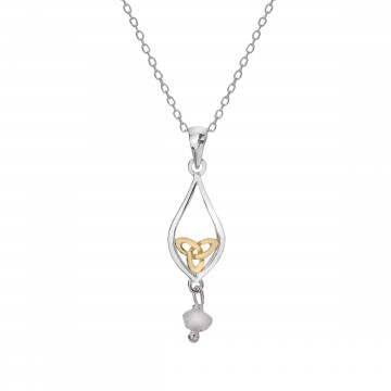 Celtic Knot & Moonstone Teardrop Sterling Silver Pendant Necklace
