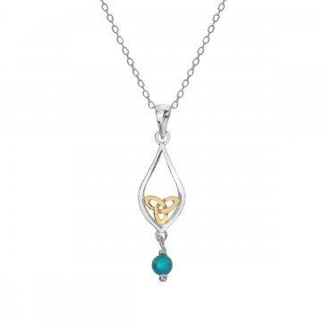 Celtic Knot & Turquoise Teardrop Sterling Silver Pendant Necklace