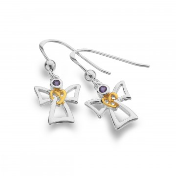 Celtic Angel & Amethyst Sterling Silver Earrings