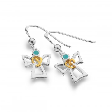 Celtic Angel & Turquoise Sterling Silver Earrings