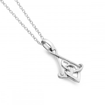 Celtic Knot Bell Sterling Silver Pendant Necklace