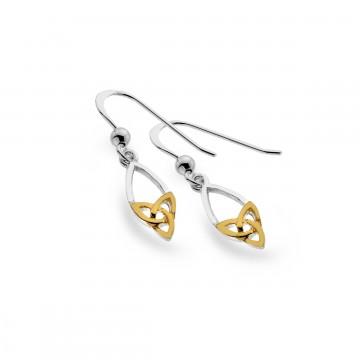 Celtic Trinity Knot Point Teardrop Sterling Silver Earrings