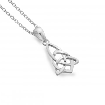 Celtic Trinity Knotwork Point Sterling Silver Pendant Necklace