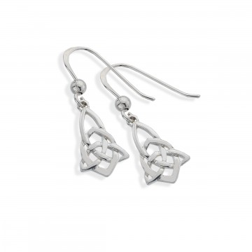 Celtic Trinity Knotwork Point Sterling Silver Earrings