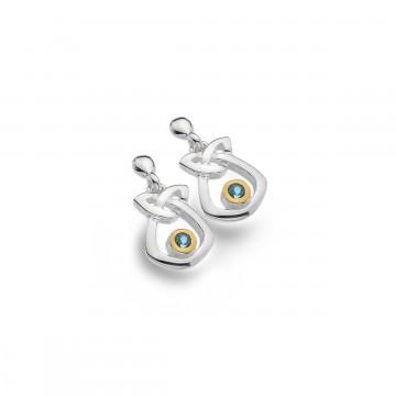Celtic Trinity Knot & Topaz Simple Sterling Silver Earrings