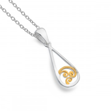 Celtic Spiral Teardrop Sterling Silver Pendant Necklace