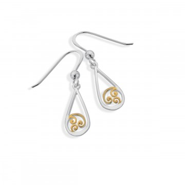 Celtic Spiral Teardrop Sterling Silver Earrings