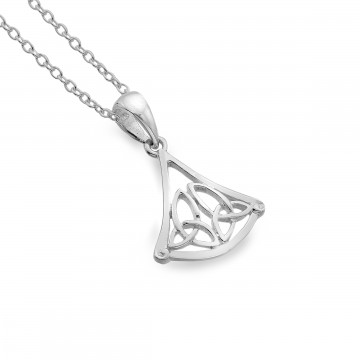 Celtic Trinity Knots Triangle Sterling Silver Pendant Necklace