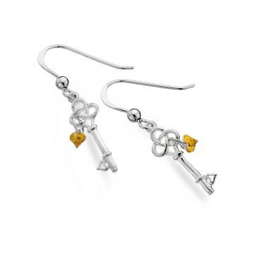 Celtic Trinity Key & Hearts Sterling Silver Earrings