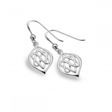 Celtic Two Hearts Entwined Sterling Silver Earrings