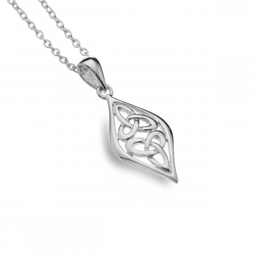Celtic Two Trinity Knots Sterling Silver Pendant Necklace