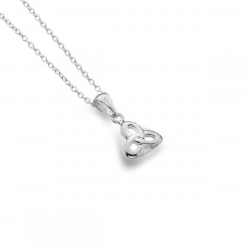 Celtic Trinity Knot Triangular Sterling Silver Pendant Necklace