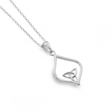 Celtic Trinity Knot Oval Point Sterling Silver Pendant Necklace