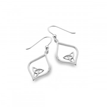 Celtic Trinity Knot Oval Pointed Sterling Silver Earrings