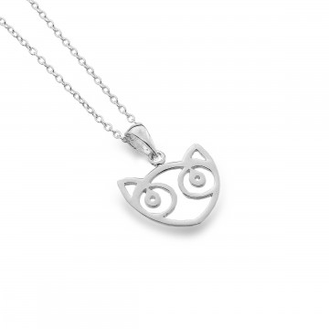 Celtic Cat Face Sterling Silver Pendant Necklace