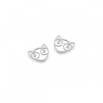 Celtic Cat Face Silver Stud Earrings