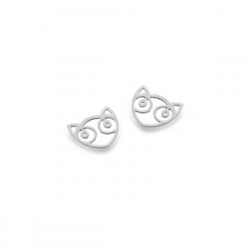 Celtic Cat Face Silver Stud Earrings