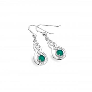 Celtic Double Knot & Green Agate Sterling Silver Earrings