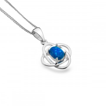 Celtic Knots Blue Opal Sterling Silver Pendant Necklace