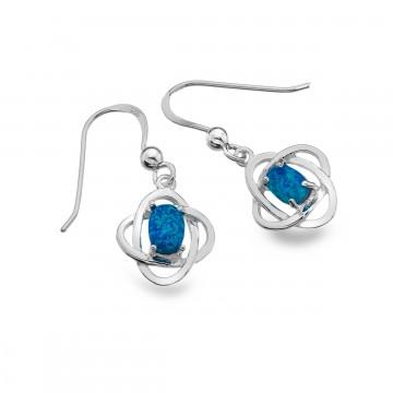 Celtic Knots & Blue Opal Sterling Silver Earrings