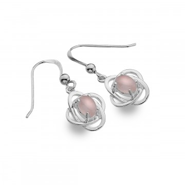 Celtic Knots & Rose Quartz Simple Sterling Silver Earrings