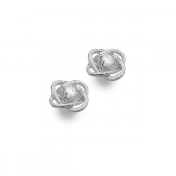 Celtic Knot Moonstone Silver Stud Earrings