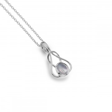 Celtic Knot Entwined Labradorite Sterling Silver Pendant Necklace