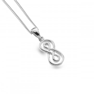 Celtic Double Infinity Knot Sterling Silver Pendant Necklace