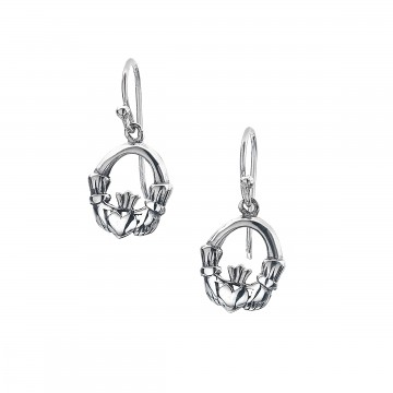 Celtic Claddagh Modern Sterling Silver Earrings