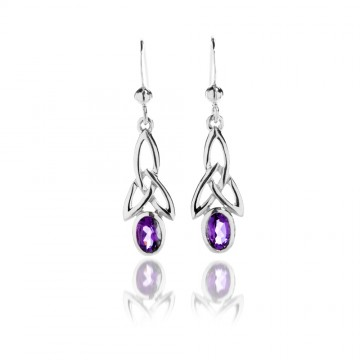 Celtic Trinity & Amethyst Long Sterling Silver Earrings