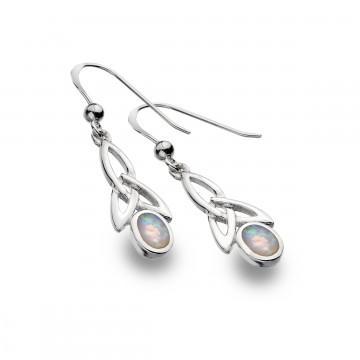 Celtic Trinity & Opal Long Sterling Silver Earrings