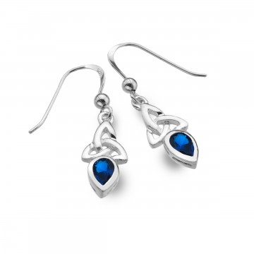 Celtic Trinity September Birthstone Sapphire Sterling Silver Earrings