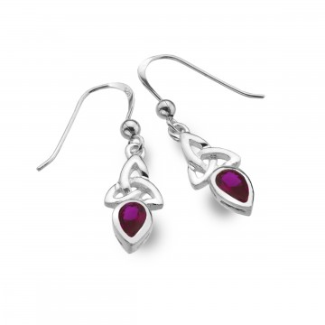 Celtic Trinity July Birthstone Ruby Sterling Silver Earrings