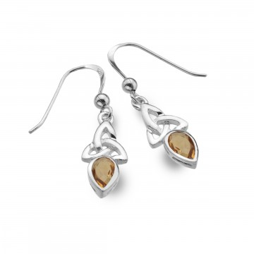 Celtic Trinity November Birthstone Citrine Sterling Silver Earrings