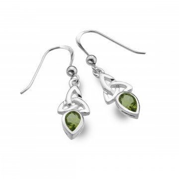 Celtic Trinity August Birthstone Peridot Sterling Silver Earrings