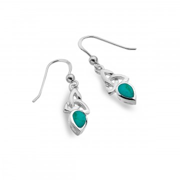 Celtic Trinity December Birthstone Turquoise Sterling Silver Earrings