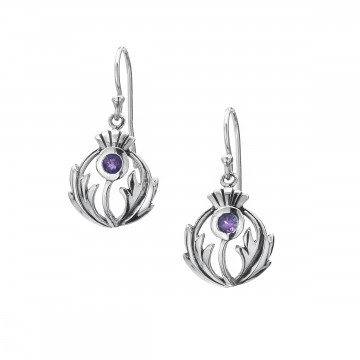 Thistle & Amethyst Round Sterling Silver Earrings