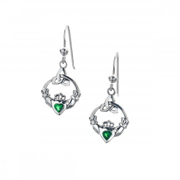 Celtic Claddagh Green Sterling Silver Earrings