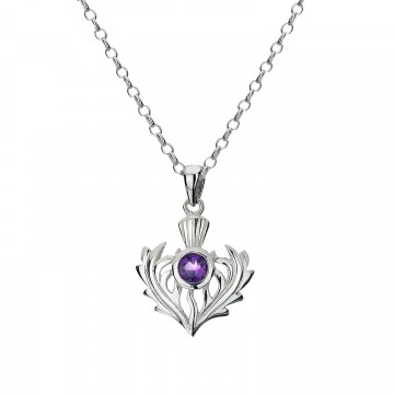 Scottish Thistle Amethyst Sterling Silver Pendant Necklace