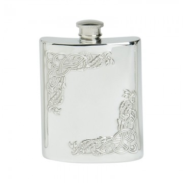 Edwin Blyde Celtic Collection 6Oz Serpent Corner Kidney Flask