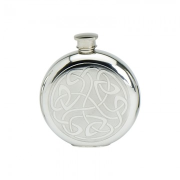 Edwin Blyde Celtic Collection 6Oz Round Flask Celtic Scroll