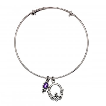 Celtic Claddagh Amethyst Charm Sterling Silver Bangle