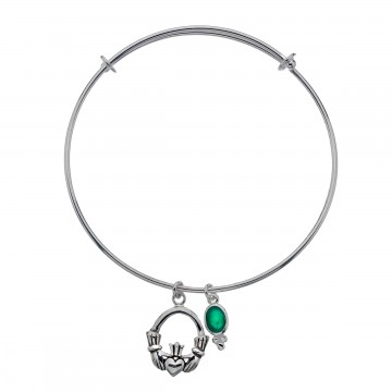Celtic Claddagh Green Agate Charm Sterling Silver Bangle