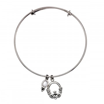 Celtic Claddagh Moonstone Charm Sterling Silver Bangle